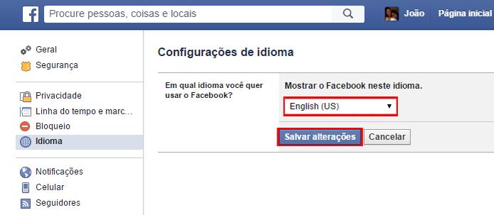 Rede social possui opções engraçadas de idiomas como inglês pirata e invertido (Foto: Reprodução/Facebook)