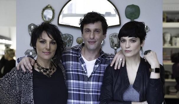 Simone Barcelos, fundadora da Escola Madre, com Vitor Mariella e Vanessa Rozan, sócios do Liceu de Maquiagem (Foto: Thiago Dias)