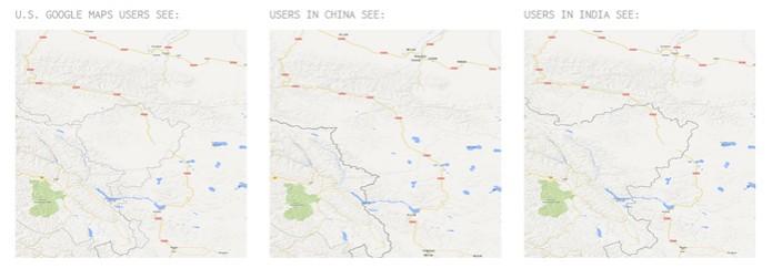 Território é mostrado como pertencendo a países diferentes no Google Maps (foto: Reprodução) (Foto: Território é mostrado como pertencendo a países diferentes no Google Maps (foto: Reprodução))