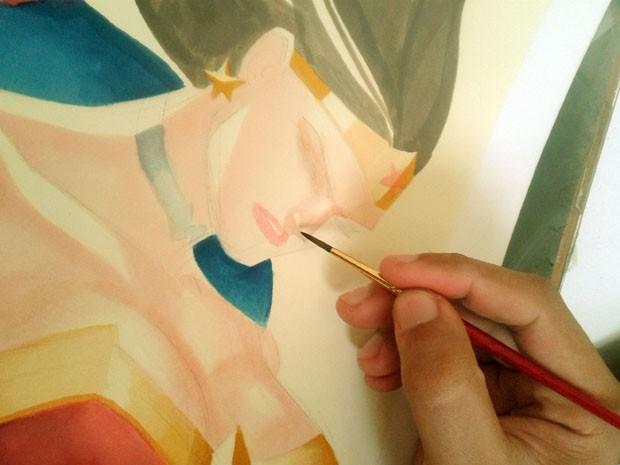 Desenhos e também cores são responsabilidade de Thony Silas; aquarela é o que mais gosta (Foto: Thony Silas / Arquivo pessoal)