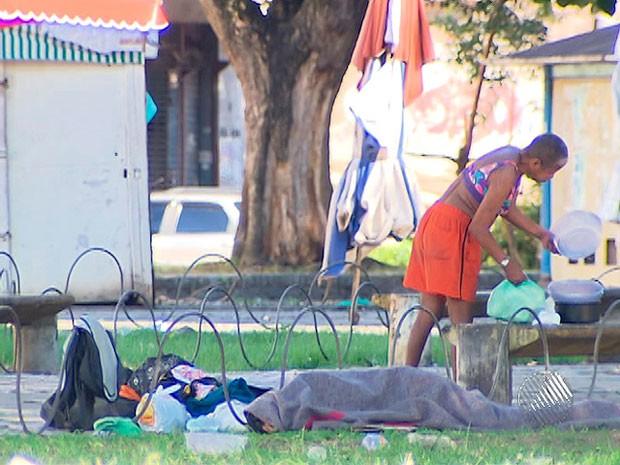 Moradores de rua (Foto: Reprodução/TV Bahia)