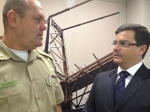 Comandante-geral da Polícia Militar de Santa Catarina e delegado-geral da Polícia Civil do estado falam de investigações sobre onda de ataques (Foto: Luísa Konescki/G1 SC)