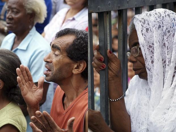 Fieis rezam durante as celebrações na capital baiana (Foto: Egi Santana/G1)