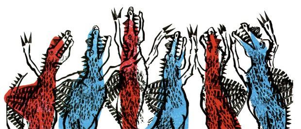 Pré-histórico | O leitor é apresentado a diferentes espécies de dinossauros com cores vibrantes. Quando os ovos de uma espécie vão parar no ninho de outra, começa a confusão. Dino e Saura, texto e ilustrações de Fernando Vilela, Brinque-Book, R$ 38. A par (Foto: Reprodução)