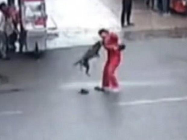 Cão enfurecido atacou 23 pessoas e causou pânico na China (Foto: Reprodução/YouTube)