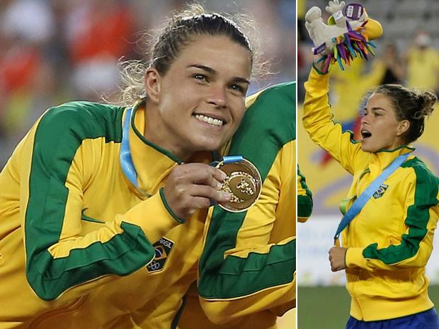 Tamires exibe a medalha de ouro do Pan após vitória sobre a Colômbia (Foto: Tom Szczerbowski-USA TODAY Sports/Reuters)