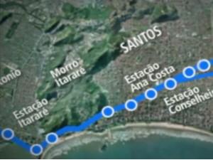 Primeira parte do VLT deve ficar pronta em um ano no litoral de SP (Foto: Reprodução/Instagram)