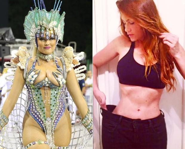 Ellen Rocche no Carnaval de 2016 e hoje (Foto: Agnews e Reprodução)