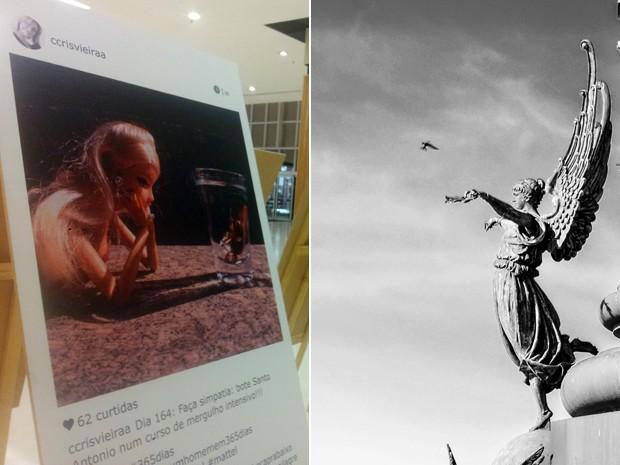'Como conquistar um homem em 365 dias' e 'Religare' abrem o mês de exposições em Pouso Alegre, MG (Foto: Daniela Ayres/ G1 e Exposição Religare/ João Paulo Alvarenga)