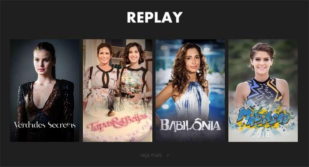 Seção de Replay do Globo Play, para assistir de novo a produções da Globo (Foto: Reprodução/Globo Play)