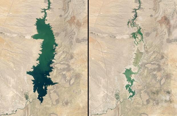 À esquerda, imagem de 1984 do reservatório Elephant Butte, no Novo México (EUA). À direita, o mesmo reservatório, em 2013. Mudança climática alterou nível da água (Foto: Divulgação/Jet Propulsion Laboratory/Nasa)
