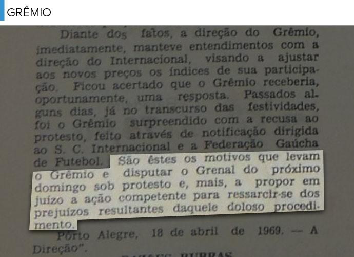Trechos Jornal Grêmio - Grenal (Foto: Editoria de Arte)