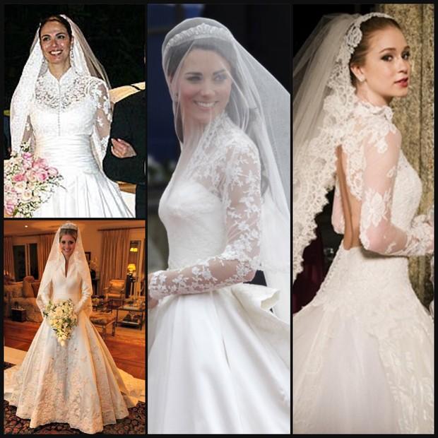 Noivas dos anos 2000 inspirada em Grace Kelly: Luciana Gimenez, Lalá Rudge, Kate Middleton e Marina Ruy Barbosa (Foto: Reprodução)