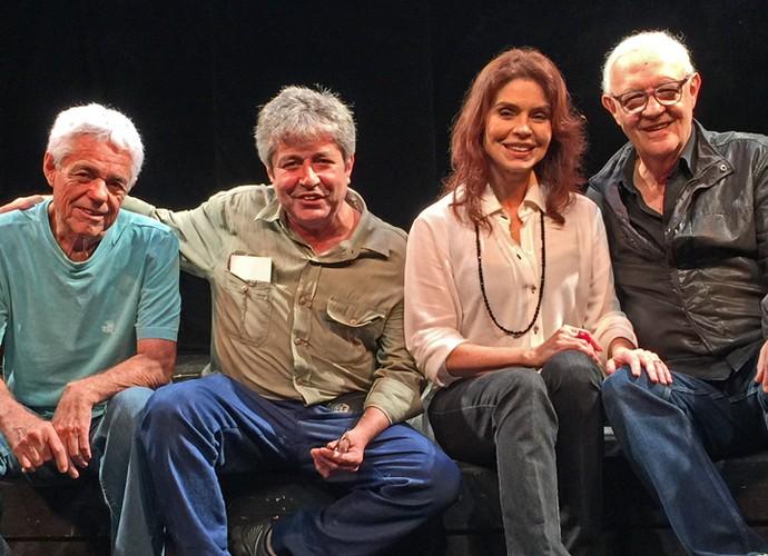 Tião D'Ávila, João Carlos Barroso, Françoise Forton e Ney Latorraca (Foto: Vídeo Show / TV Globo)