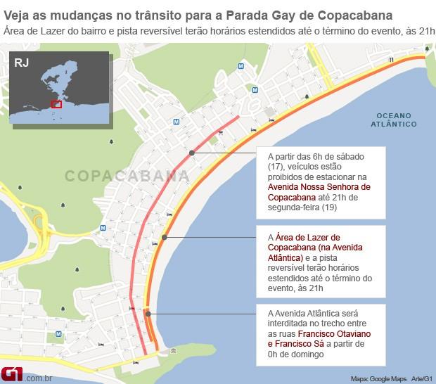 Veja as mudanças no trânsito devido à Parada Gay de Copacabana, neste domingo (18) (Foto: Editoria de Arte/G1)