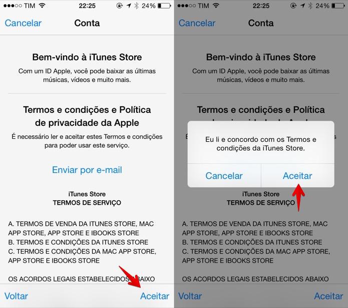 Aceite os termos do contrato da Apple (Foto: Reprodução/Helito Bijora)