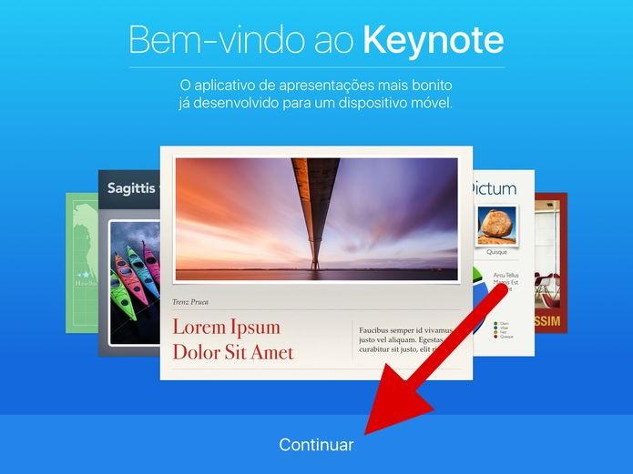 Introdução ao aplicativo Keynote (Foto: Felipe Alencar/TechTudo)
