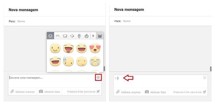 O Facebook permite a inclusão de emoticons nas mensagens privadas (Foto: Reprodução/Lívia Dâmaso)