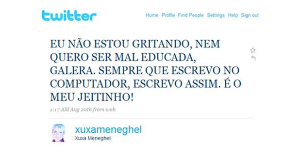 Xuxa no Twitter (Foto: Reprodução)