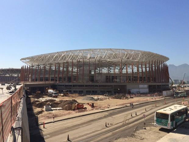 Obras no Parque Olímpico, na Barra da Tijuca, Rio (Foto: Marcelo Elizardo/G1)