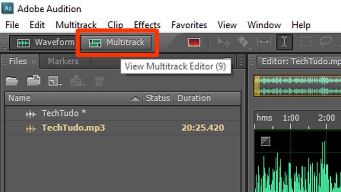 A opção multitrack possibilita trabalhar com mais de uma pista no Audition. (Foto: Reprodução/Gabriel Galli)