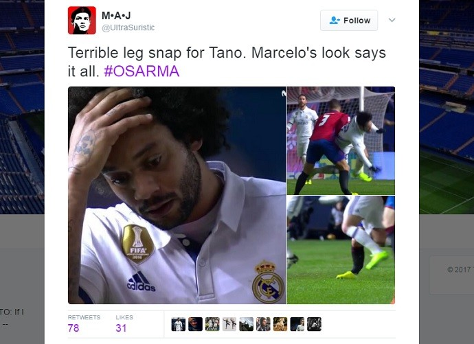 Marcelo chocado com lesão de Tano do Osasuna