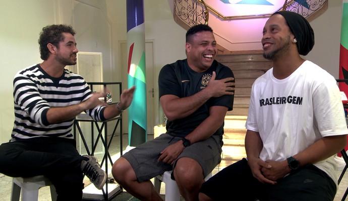 Felipe Andreoli, Ronaldo Fenômeno e Ronaldinho Gaúcho (Foto: Sergio Gandolphi)