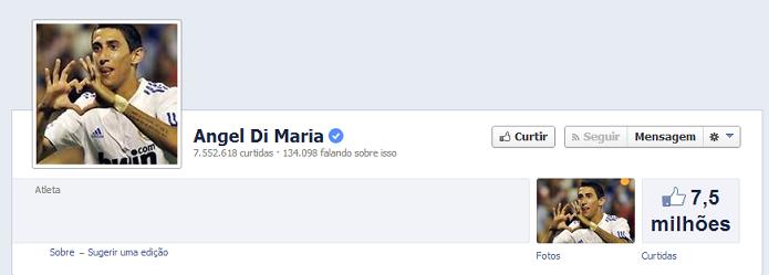 Angel Di Maria do Real Madrid tem 7,456,912 de fãs no Facebook (Foto: Reprodução/Facebook)