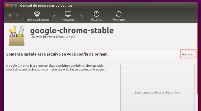 Iniciando a instalação do Google Chrome no Linux (Foto: Reprodução/Edivaldo Brito)