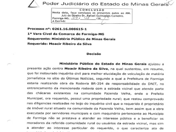 Decisão Judicial afasta prefeito de Formiga (Foto: TJMG/Divulgação)