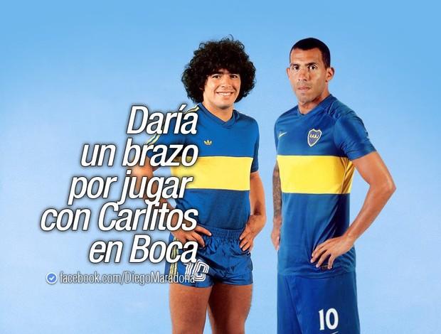 BLOG: Maradona diz que daria um braço para jogar ao lado de Tevez no Boca Juniors