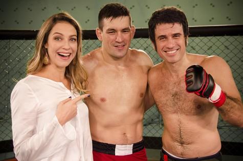 Luana Piovani grava com o lutador de MMA Demian Maia e o ator Eriberto Leão  (Foto: Raphael Dias/TV Globo)