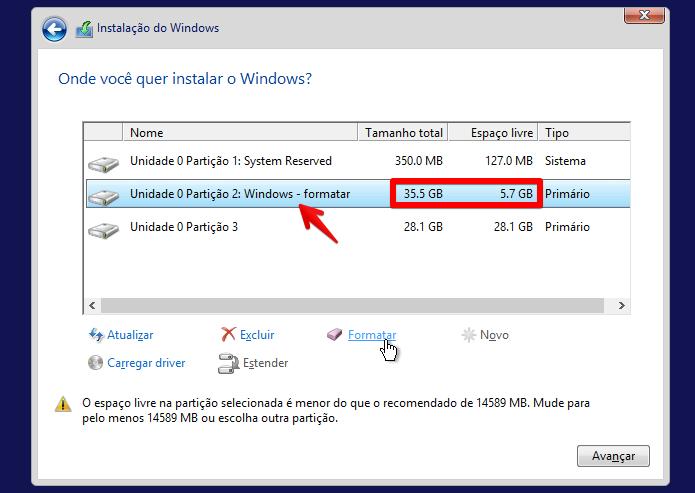 Identificando a partição em que o Windows está instalado
