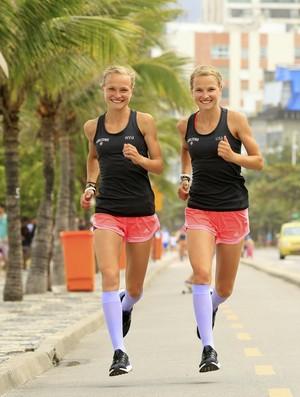 Anna e Lisa Hahnerberger treinam para Maratona do Rio (Foto: Marcelo de Jesus)