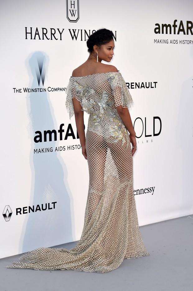 Chanel Iman no baile de gala da amfAR, em Cannes, na França (Foto: AFP)