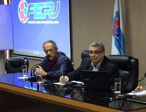 Walter Feldman, Rubens Lopes e general Marco Aurélio Vieira em arbitral na Ferj (Foto: Divulgação)