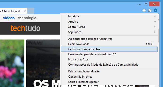 Acessando extensões do Internet Explorer (Foto: Reprodução/Helito Bijora)