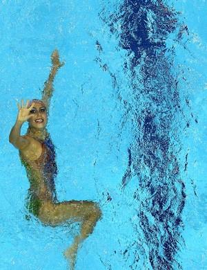 Nayara Figueira e Lara Teixeira no Pré-Olímpico de nado sincronizado, em Londres (Foto: Getty Images)