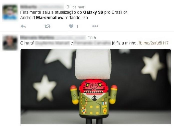Usuários que já receberam Android M no Galaxy S6 (Foto: Reprodução/Twitter)