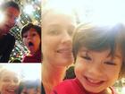 Luana Piovani faz graça em fotos com o filho mais velho, Dom