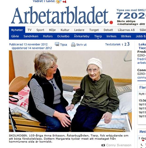 Anna Eriksson, de 105, foi matriculada em turma destinada a crianças dos cinco aos seis anos. (Foto: Reprodução)