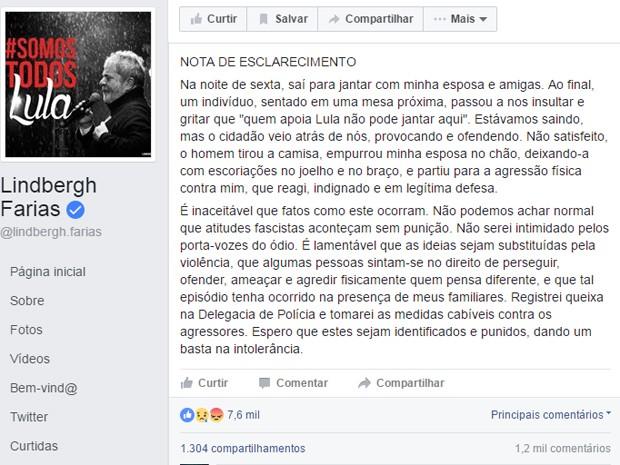 Senador Lindbergh Farias usou sua página pessoal no Facebook para divulgar nota sobre confusão na Barra da Tijuca, Zona Oeste do Rio. (Foto: Reprodução/Facebook)