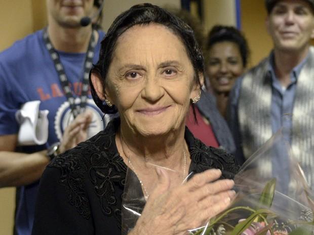 Laura Cardoso agradece pelo carinho (Foto: Gabriela / TV Globo)
