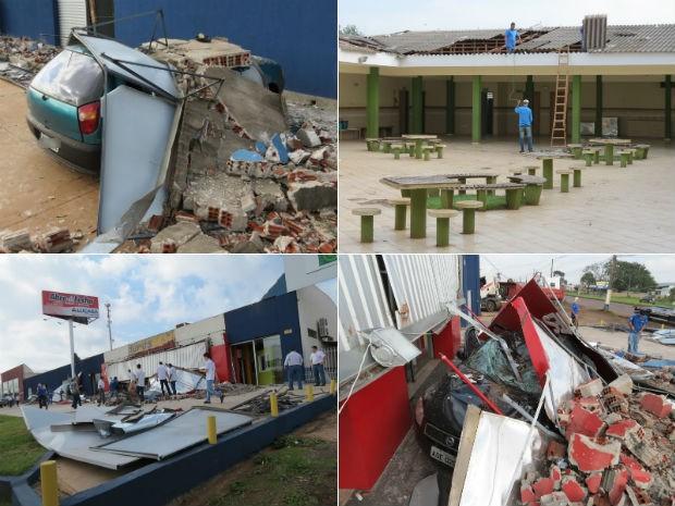 Carros e placas ficaram destruídos após o temporal na cidade (Foto: Adilson Honório/RPC TV)