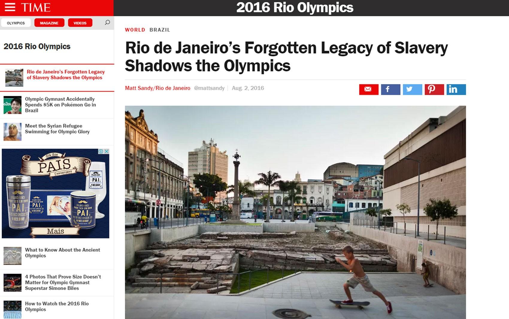 Artigo da revista 'Time' fala sobre o legado esquecido da escravidão no Rio de Janeiro