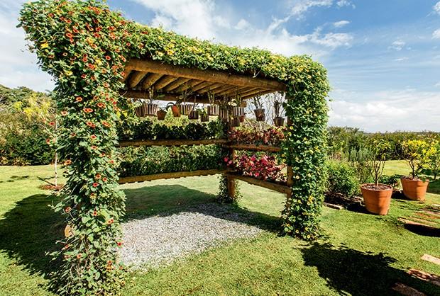 Orquidário | De eucalipto, executado pela Flora & Arte Paisagismo, traz troncos para o encaixe de vasos. Pedriscos forram a área sombreada (Foto: Felipe Gombossy/Divulgação)