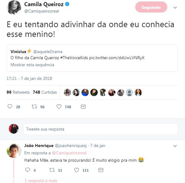 Camila Queiroz comenta semelhança com João Henrique (Foto: Reprodução/Twitter)