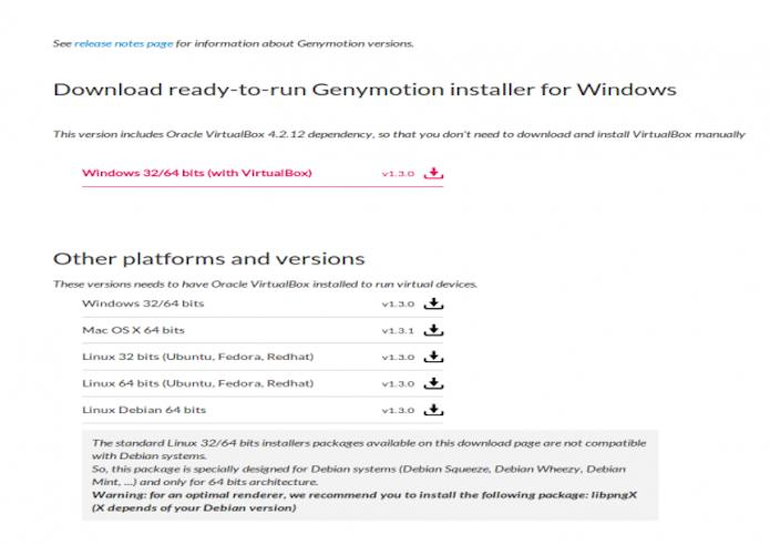 Página para seleção da versão do Genymotion adequada ao seu sistema operacional (Foto: Reprodução)