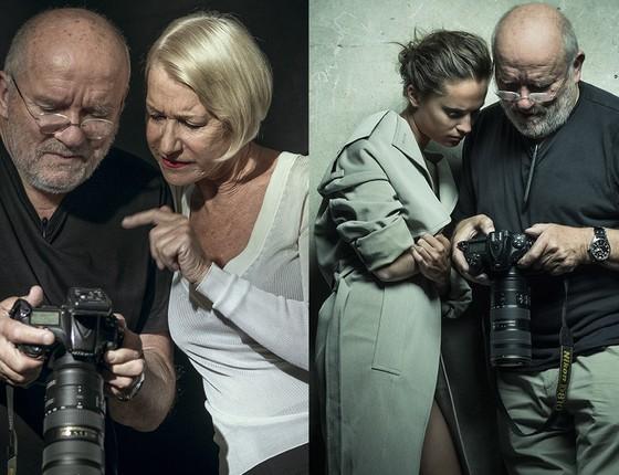 """Momento """"deixa eu ver se está ficando bom"""": Hellen Mirren e Alicia Vikander  (Foto: Divulgação/ Pirelli)"""