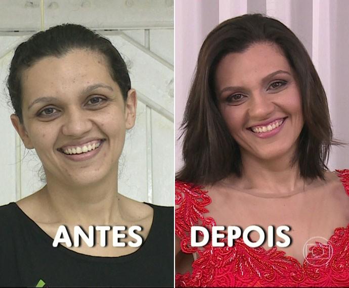Ana Lidia antes e depois do 'Você Mais Poderosa' (Foto: TV Globo)